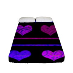 Purple And Magenta Harts Pattern Fitted Sheet (full/ Double Size) by Valentinaart