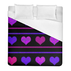 Purple And Magenta Harts Pattern Duvet Cover (full/ Double Size) by Valentinaart