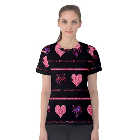 Pink Elegant Harts Pattern Women s Cotton Tee by Valentinaart