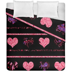 Pink Elegant Harts Pattern Duvet Cover Double Side (california King Size) by Valentinaart