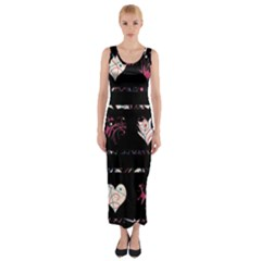 Elegant Harts Pattern Fitted Maxi Dress