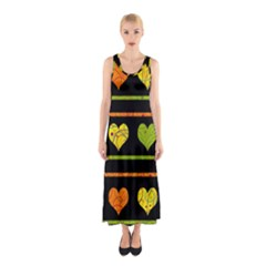 Colorful Harts Pattern Sleeveless Maxi Dress by Valentinaart