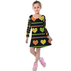 Colorful Harts Pattern Kids  Long Sleeve Velvet Dress by Valentinaart