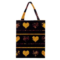 Yellow Harts Pattern Classic Tote Bag by Valentinaart