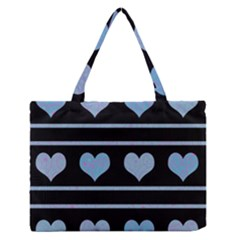Blue Harts Pattern Medium Zipper Tote Bag by Valentinaart