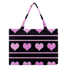 Pink Harts Pattern Medium Tote Bag by Valentinaart