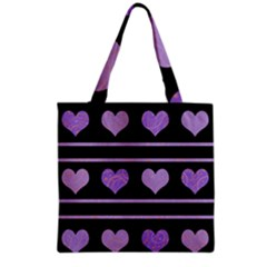 Purple Harts Pattern Grocery Tote Bag by Valentinaart