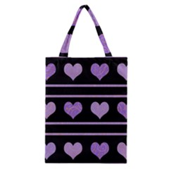 Purple Harts Pattern Classic Tote Bag by Valentinaart