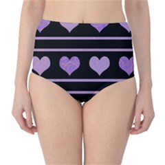 Purple Harts Pattern High Waist Bikini Bottoms