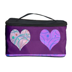 Purple Harts Pattern 2 Cosmetic Storage Case by Valentinaart