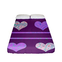 Purple Harts Pattern 2 Fitted Sheet (full/ Double Size) by Valentinaart