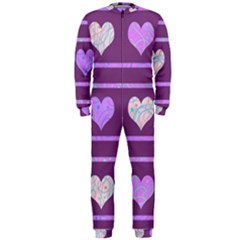 Purple Harts Pattern 2 Onepiece Jumpsuit (men)  by Valentinaart