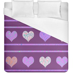 Purple Harts Pattern 2 Duvet Cover (king Size) by Valentinaart