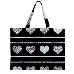 Elegant Harts Pattern Medium Zipper Tote Bag by Valentinaart