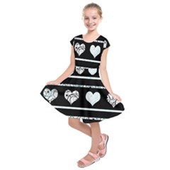 Elegant Harts Pattern Kids  Short Sleeve Dress by Valentinaart