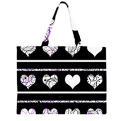 Elegant Harts Pattern Zipper Large Tote Bag by Valentinaart