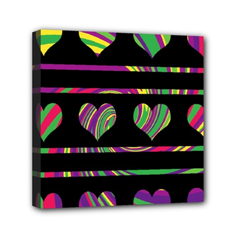 Colorful Harts Pattern Mini Canvas 6  X 6  by Valentinaart