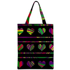 Colorful Harts Pattern Zipper Classic Tote Bag