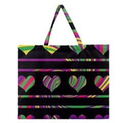 Colorful Harts Pattern Zipper Large Tote Bag by Valentinaart