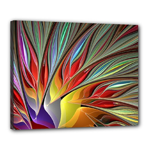 Fractal Bird Of Paradise Canvas 20  X 16  (stretched) by WolfepawFractals