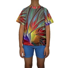 Fractal Bird Of Paradise Kids  Short Sleeve Swimwear by WolfepawFractals