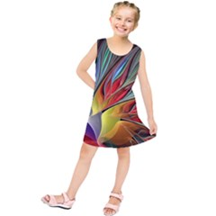 Fractal Bird Of Paradise Kids  Tunic Dress by WolfepawFractals