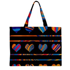 Colorful Harts Pattern Medium Zipper Tote Bag by Valentinaart