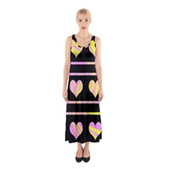 Pink And Yellow Harts Pattern Sleeveless Maxi Dress