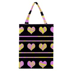 Pink And Yellow Harts Pattern Classic Tote Bag by Valentinaart