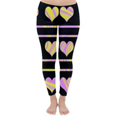 Pink And Yellow Harts Pattern Classic Winter Leggings by Valentinaart