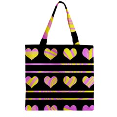 Pink And Yellow Harts Pattern Zipper Grocery Tote Bag by Valentinaart