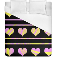 Pink And Yellow Harts Pattern Duvet Cover (california King Size) by Valentinaart