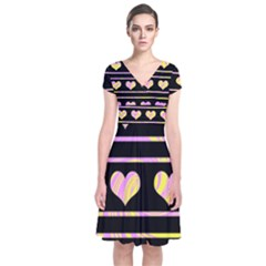 Pink And Yellow Harts Pattern Short Sleeve Front Wrap Dress