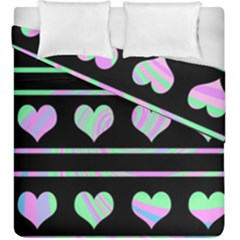 Pastel Harts Pattern Duvet Cover Double Side (king Size) by Valentinaart