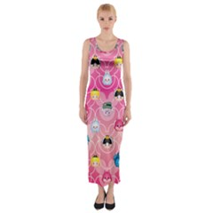 Alice In Wonderland Fitted Maxi Dress