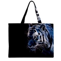 Ghost Tiger  Medium Zipper Tote Bag by Brittlevirginclothing