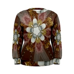 Elegant Antique Pink Kaleidoscope Flower Gold Chic Stylish Classic Design Women s Sweatshirt by yoursparklingshop