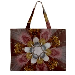 Elegant Antique Pink Kaleidoscope Flower Gold Chic Stylish Classic Design Zipper Mini Tote Bag by yoursparklingshop
