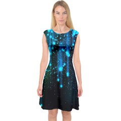 Abstract Stars Falling Wallpapers Hd Capsleeve Midi Dress by Brittlevirginclothing