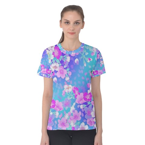 Colorful Pastel  Flowers Women s Cotton Tee by Brittlevirginclothing