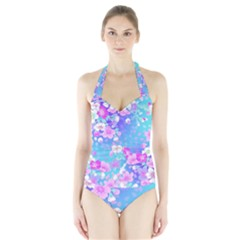 Colorful Pastel  Flowers Halter Swimsuit by Brittlevirginclothing