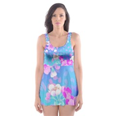 Colorful Pastel  Flowers Skater Dress Swimsuit by Brittlevirginclothing