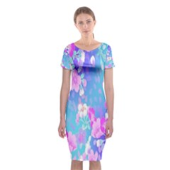 Colorful Pastel  Flowers Classic Short Sleeve Midi Dress by Brittlevirginclothing