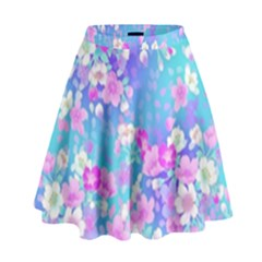 Colorful Pastel  Flowers High Waist Skirt by Brittlevirginclothing