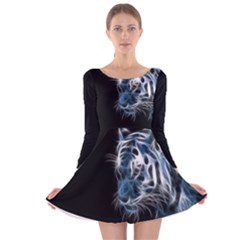 Ghost Tiger Long Sleeve Velvet Skater Dress by Brittlevirginclothing