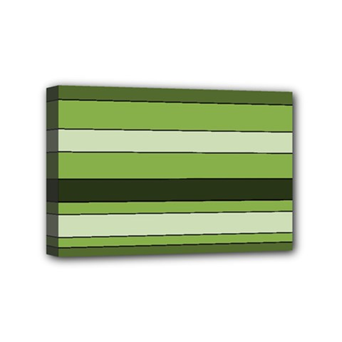 Greenery Stripes Pattern Horizontal Stripe Shades Of Spring Green Mini Canvas 6  X 4  by yoursparklingshop