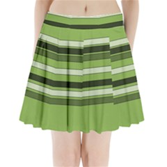 Greenery Stripes Pattern Horizontal Stripe Shades Of Spring Green Pleated Mini Skirt by yoursparklingshop