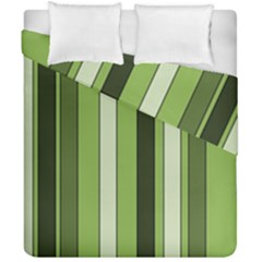 Greenery Stripes Pattern 8000 Vertical Stripe Shades Of Spring Green Color Duvet Cover Double Side (california King Size)