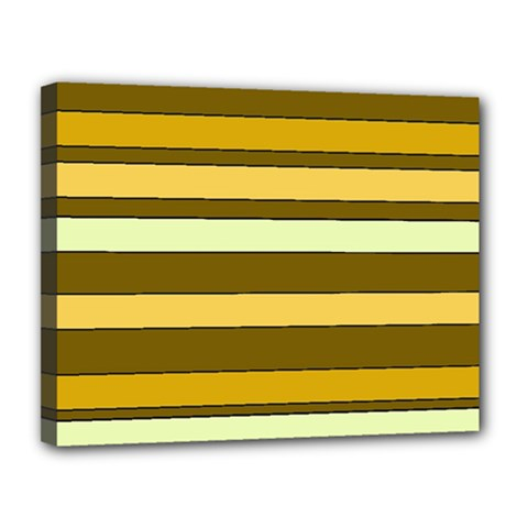 Elegant Shades Of Primrose Yellow Brown Orange Stripes Pattern Canvas 14  X 11  by yoursparklingshop
