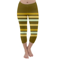 Elegant Shades Of Primrose Yellow Brown Orange Stripes Pattern Capri Winter Leggings  by yoursparklingshop